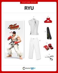 Growing up, you've probably used Ryu when playing Street Fighter. Now you dress up just like him with this street fighting costume. Street Fighter Costumes, Ryu Street Fighter, Super Street Fighter, Got Costumes, Video Game Costumes, Costume Ideas, Halloween Costumes For Kids, Halloween Ideas, Costumes