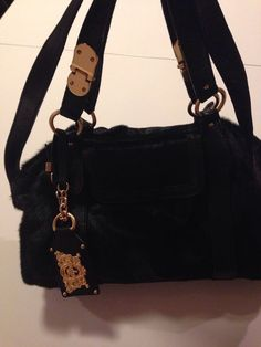 dde3e8c540 Juicy Couture Shoulder Hand Bag Cowhide Leather Black With Zipper For Women   JuicyCouture