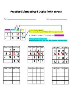 math worksheet : subtracting money with zeros worksheets  subtractions with  : Subtract Across Zeros Worksheet