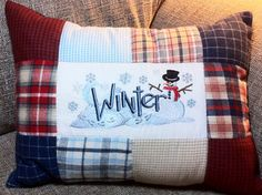 Patchwork winter pillow - design by emblibrary.