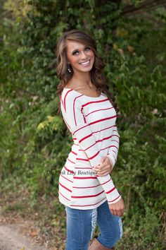 My Time Stripe Tunic Red!