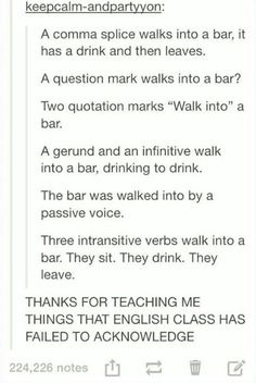punctuation and verb tenses used in jokes