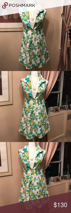 """Vintage Marie Bonheur Paris Floral Dress I just absolutely love this dress. It appears to be practically in brand new condition. There is one little dark spot on the bottom near the hem. It's shown in last photo. The size is 40. Please be aware of the measurements before purchasing. Chest across armhole to armhole is 15"""", waist 15"""", hips 19"""", shoulders 14"""". Can be worn closed as a dress or open as duster. Marie Bonheur Paris Dresses"""