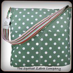 Green Polka Dot Canvas Bag