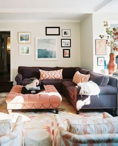 Couch. Need. goodway to add some colour to my living room, bright ottoman with matching pillows