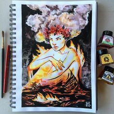 And here she is! Pelé, Hawaiian goddess of fire. This all colored ink wash by Windsor and Newton, NOT watercolor! I wanted to show her brooding in her volcanic home  You all are doing such an amazing job with #inktober2016 and my #lyfeink16 challenge! Be sure to check out my bestie @missupacey 's #witchtacular challenge as well as the @inktober creator @jakeparker ! And lastly, but not leasty, @kuretakezig_usa 's generous #kuretakeinktober2016 giveaway!