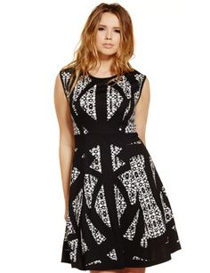 Studio Abstract Print Fit & Flare Dress Black Print