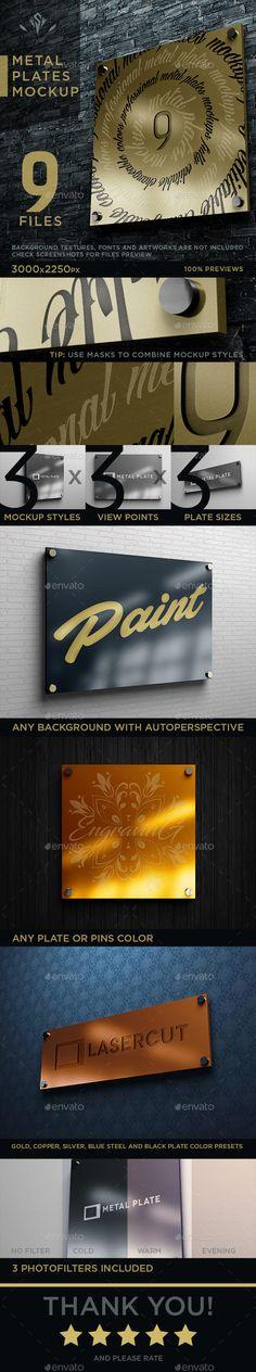 9 Metal Plates Mockup - #Logo Product #Mock-Ups Download here:  https://graphicriver.net/item/9-metal-plates-mockup/20119034?ref=alena994