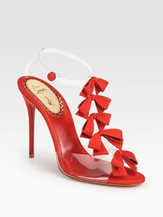 Christian Louboutin Translucent Bow Bow Grosgrain Ribbon Sandals