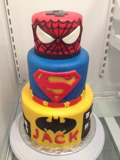 SuperHero cake! How to make Fondant for decorations and other tutorials here.