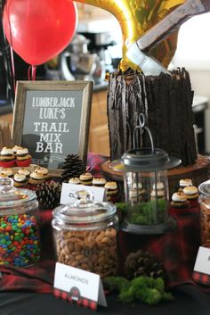 Lumberjack Theme Birthday Party Ideas - love the trail mix bar!