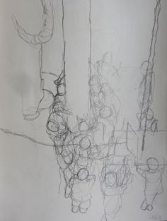 """Exhibition Road Drawing Resident: Liam O'Connor, April 2014 – April 2015, """"These machines are difficult to get near to so I have been making drawings of the figures of the site guys operating and guiding them."""" © Liam O'Connor."""