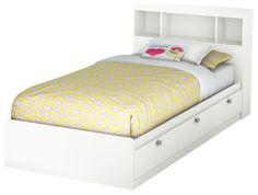 South Shore Affinato Twin Bookcase Storage Bed Set in Pure White Finish