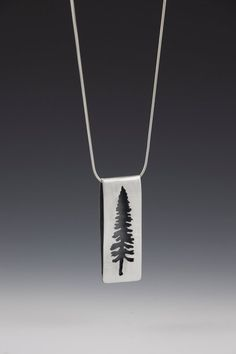 spruce pendant brushed sterling silver tree by mirandabritton, $185.00