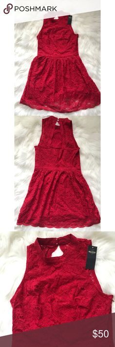 Hollister Red Lace Dress NWT Hollister Red Lace Dress- Size Medium High neck line with open back Hollister Dresses Midi