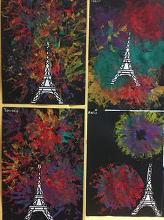 Fireworks for the new year Toddler Art, Toddler Crafts, Infant Crafts, Daycare Crafts, Eiffel Tower Craft, Paris Crafts, Casa Kids, Kids Around The World, World Crafts