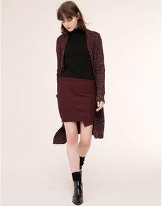 Pull&Bear - mujer - faldas - falda bajo asimétrico - granate - 09398345-I2015