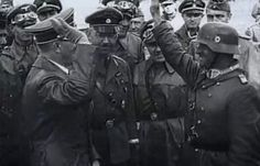 The happy beginnings. Hitler visits I.Panzergroupe SS commanding general Sepp Dietrich during the opening of the invasion of Russia. Sepp, an old Nazi street fighter, was Hitler's chauffeur and bodyguard in the early days of the Nazi party. Looking on is SS chief Heinrich Himmler (standing center).