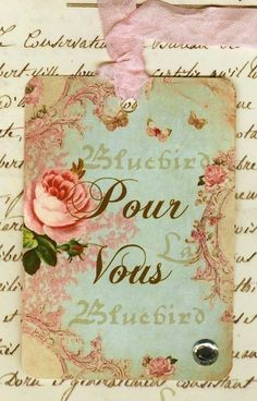 Vintage Style Gift Tags Pour Vous with Roses  by Bluebird Lane