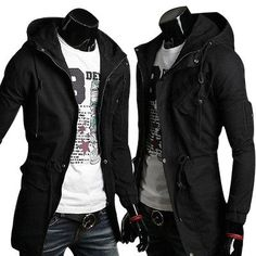 Hot Mens Slim Fit Coat Hoodies Coat Long Parka Trench Coat Hooded Jacket Winter