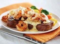 My boyfriend is gonna love me for this one. Some of you may be familiar with the Shrimp and Parmesan steak at Applebee's. Let me tell ya, that dish is wonderful. But, it's a little pric… Meat Recipes, Seafood Recipes, Low Carb Recipes, Cooking Recipes, Copycat Recipes, Seafood Meals, Grilled Recipes, Crockpot Recipes, I Love Food