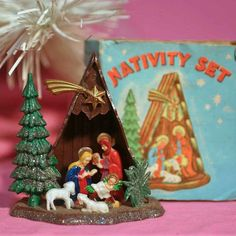 Vintage Nativity Scene - tiny and plastic, to hang on the Christmas tree