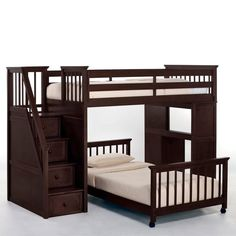 Kids Loft Bed With Desk Stairway Steps Brown Wood Finish