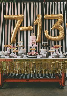 The key to an eclectic wedding is how you display your desserts. Sweets can easily be given a rocker touch with a bold backdrop and gold — lots of gold!  Photo by Life in Balance via 100 Layer Cake