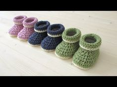 How to crochet cuffed baby booties for beginners - beginners baby shoes - YouTube