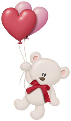 White Teddy with Heart Balloons PNG Clipart