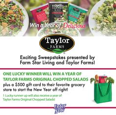 Win a year's supply of Taylor Farms from Farm Star Living! (2 Winners)