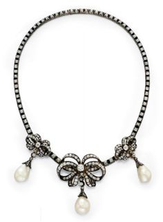 Antique Pearl And Old Mine-Cut Diamond Bow Necklace Mounted In Silver-Topped 18k Gold   c.1850s  Christie's