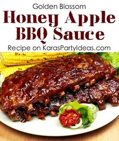 Delicious honey apple BBQ SAUCE RECIPE! Via KarasPartyIdeas.com #homemadebbqsauce #partyrecipes