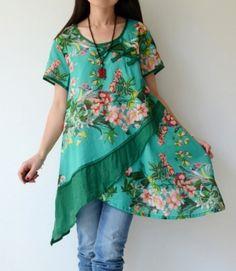 Floral Pattern Irregular Hem Cotton Shirt