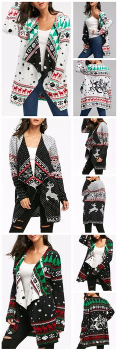 9319babb72517 Up to 68% OFF! Christmas Graphic Tunic Draped Knitted Cardigan.  Zaful