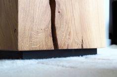 Monolithic Oak Block Side Table, by BANTHORPE + CO. Bedside, Nightstand, Wood Grain, End Tables, Natural Light, Light Colors, Flooring, Furniture, Design