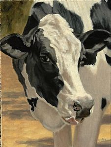 Da-iry by denise rich Oil ~ 16 x 12 Cow Photos, Cow Pictures, Cow Painting, Painting & Drawing, Animal Paintings, Animal Drawings, Holstein Cows, Farm Art, Cow Art