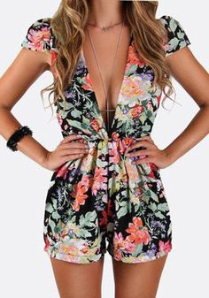 Multicolor Floral Print Mid-rise Elastic Waist Cotton Short Jumpsuit