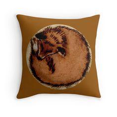 Sleeping Fox on Throw Pillow by Imogen Smid - Redbubble, Interior Design, Woodland Animals, Fox Interior, Illustration