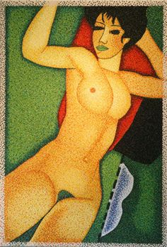 "#finearts, ""(slow-made) modigliani, green, 90° clockwise direction"", 02. 2004, #pixelism - ca. 59.000 painted #pixels, acrylic on canvas, 84 x 125 cm, ■ = 4 x 4 mm, 33.07"" x 49.21"", ■ = 0.16"" x 0.16""."