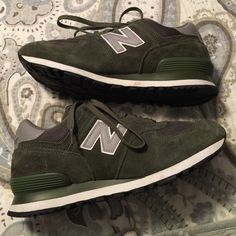 New Balance Green Sneakers Worn for an hour New Balance green suede sneakers.  Practically brand new.  Has a small smudge on the inner right shoe.  Can barely see it.  No box. New Balance Shoes Sneakers