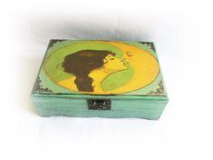 Vintage Moon Girl Box Keepsake Box Gift for Her Love You to the Moon Birthday Gift Art Nouveau Box Kissing the Moon Etsy Shop Names, My Etsy Shop, Vintage Moon, Wedding Champagne Flutes, She Loves You, Personalised Box, Card Box Wedding, Moon Art, Keepsake Boxes
