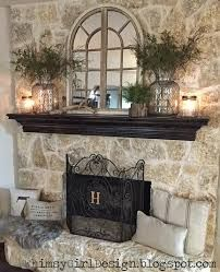 Image Result For River Rock Fireplace With A White Shabby Mantle Fireplace Mantle Decor Fireplace Mantel Decor Home Decor