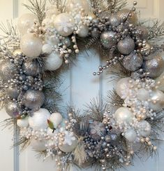 Silver and White Heirloom Christmas Wreath by CelebrateAndDecorate