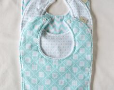 Aqua and Grey Bib Set Baby Bib Set Aqua Baby Bib by MimisNursery