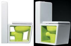 Inodoro blanco y verde