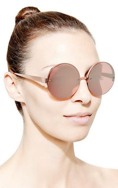 ac7305a9877 Metal Round-Frame Mirrored Sunglasses by Linda Farrow - Moda Operandi.