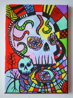 New Gothic Psychedelic Skulls Mushrooms Art,Painting For Sale,Bright Red,Neon…