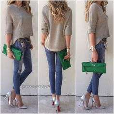 """""""Yesterday -  #RamyBrook sweater, #AG printed distressed leggings, #Hermès #KellyCut (color bamboo), #Chanel belt and #LouboutinPigalle120mm heels (see…"""""""
