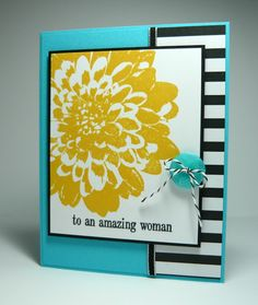 Stampin' Up! ... handmade card from Perry Papercrafts: Definitely Awesome .... luv the bold yellow flower with turquoise and black and white stripes in the background ...
